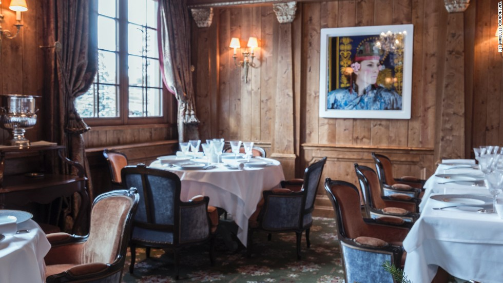 Vintage caviar served with vodka granita and borscht jelly is on the menu at Les Airelles in the French Alps. Signature diners: Moscow millionaires.