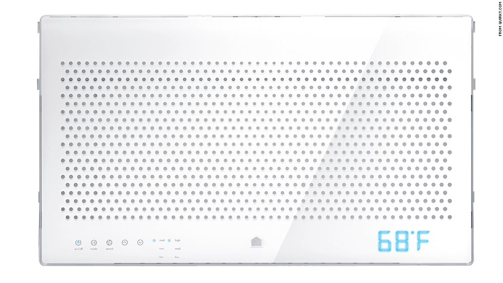 """A connected air-conditioning device, Quirky's <a href=""""https://www.quirky.com/aros"""" target=""""_blank"""">Aros</a> learns from your budget, location, schedule and usage to maintain the perfect temperature and maximize savings for your home."""