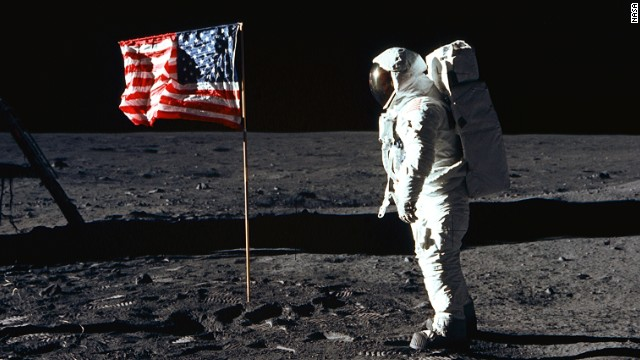 This is the A7L spacesuit. Unfortunately, Madison Rising was not available to perform when the flag was placed on the moon in 1969.