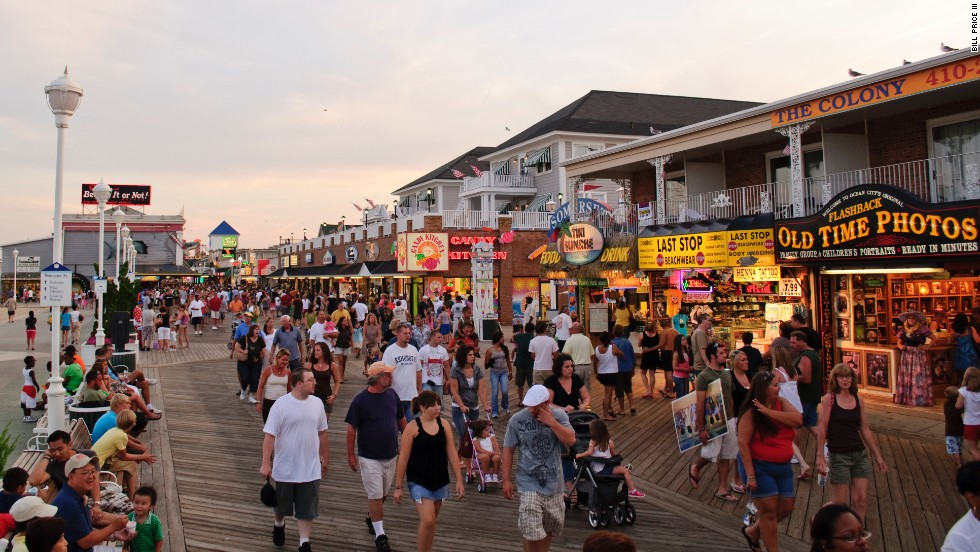 The boardwalk in Ocean City, Maryland, dates to 1902. Arcades, a roller coaster and a Ferris wheel are among its draws for kids.