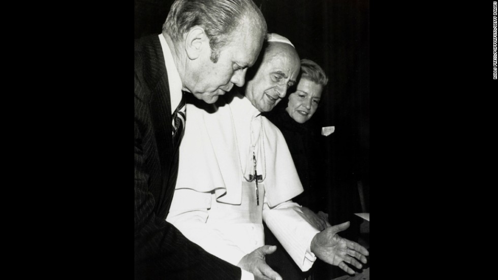 Jan. 1, 1975, President Gerald Ford with his wife Betty at the Vatican City with Pope Paul IV.