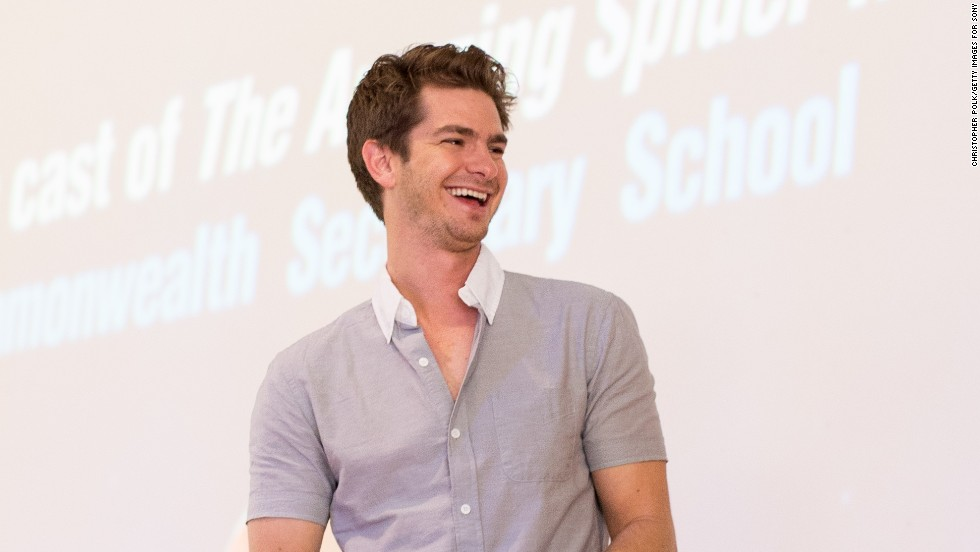 """The Amazing Spider-Man 2"" star Andrew Garfield visit an environmentally progressive school in Singapore on March 28."