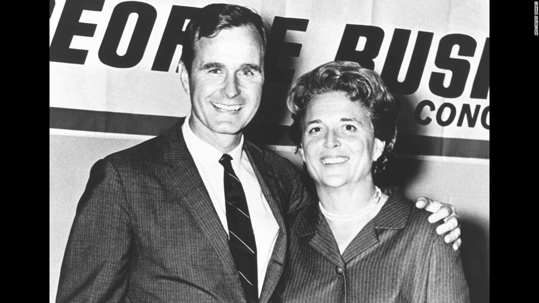 Bush is pictured with his wife, Barbara, during his first campaign for Congress. He represented Texas' 7th District from 1966-70, and he was appointed to the tax-writing Ways and Means Committee.