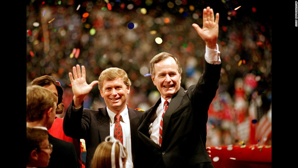 "Bush and Indiana Sen. Dan Quayle accepted the Republican Party's nominations for president and vice president in August 1988. During his speech, Bush first uttered the memorable line, ""Read my lips: No new taxes."""