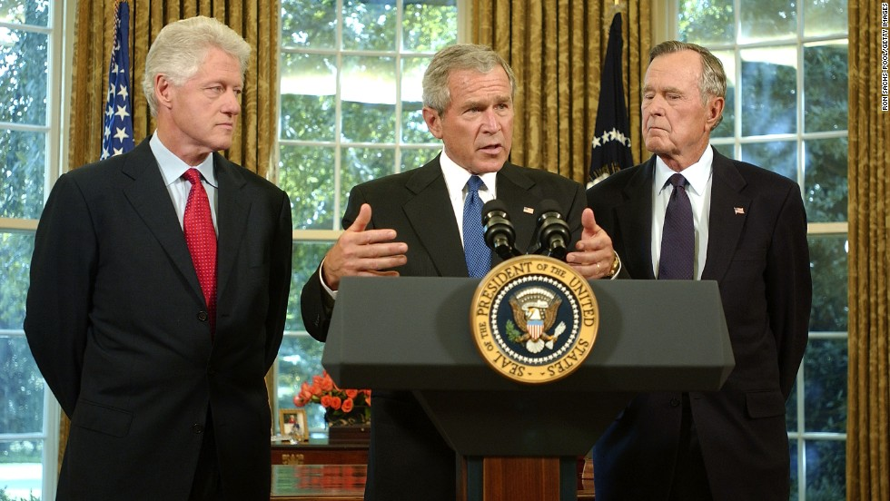 President George W. Bush appointed his father and former President Bill Clinton to lead fundraising efforts for victims of Hurricane Katrina in September 2005.
