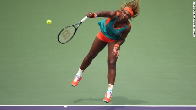 Serena Williams, pictured, beat Li Na in the Sony Open final after trailing 5-2 in the first set.