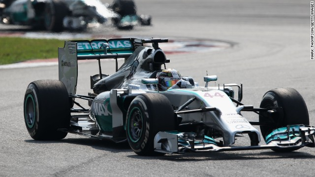 Lewis Hamilton leads teammate Nico Rosberg during their one-two at the Malaysian Grand Prix.