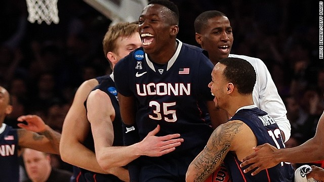 UConn, the No. 7 seed in its region, celebrates a victory over No. 4 Michigan State.