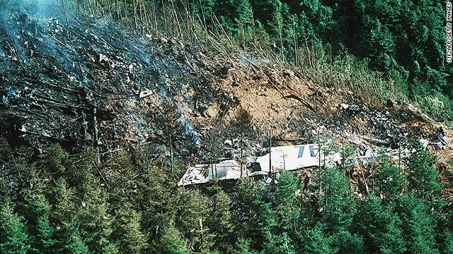 Photo dated August 13, 1985 shows a wing from the Japan Air Lines Boeing 747 that crashed near Fujioka, Japan.