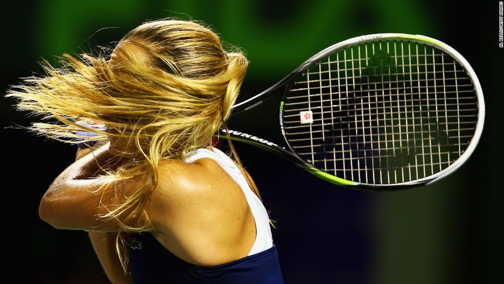 Dominika Cibulkova returns a shot during a tennis match Thursday, March 27, at the Sony Open in Key Biscayne, Florida.