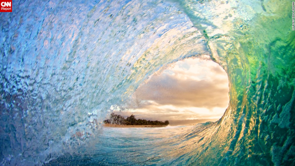 "Kenji Croman's love of the ocean became the focus of his photography in 2008. Croman says he took this shot at Rocky Point on the North Shore of Oahu, Hawaii. ""The sunset was absolutely amazing."""