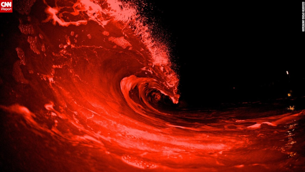 "Croman took this photo during the pitch-black night at Sandy Beach in Oahu, using special flashes to make the waves look like lava. ""I've been trying to perfect this shot for a couple months now,"" he says. ""These are the first ones that I got that I truly like."""