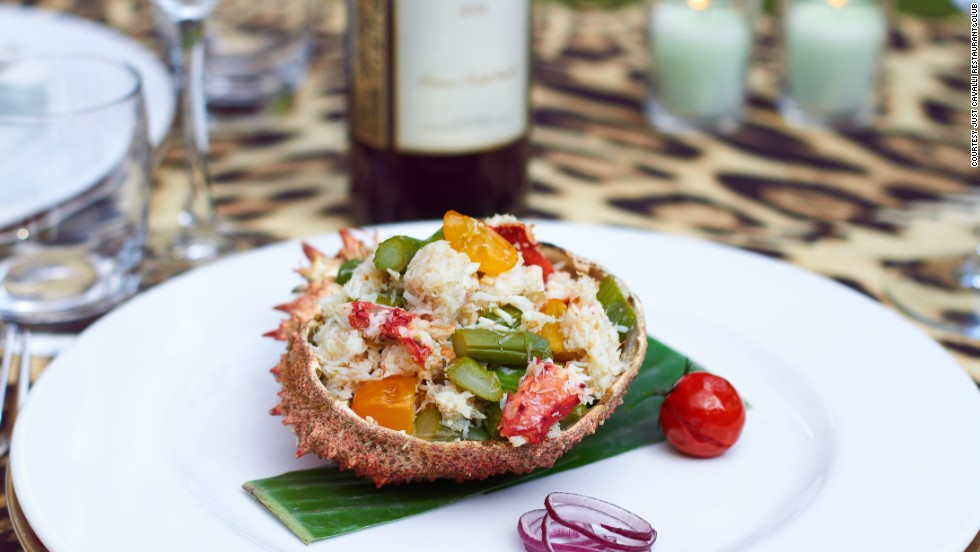 Models don't do huge meals. So forget massive platters of spaghetti and pizza. Dishes such as crab salad (pictured) from Just Cavalli Restaurant & Club will keep you on the catwalk.
