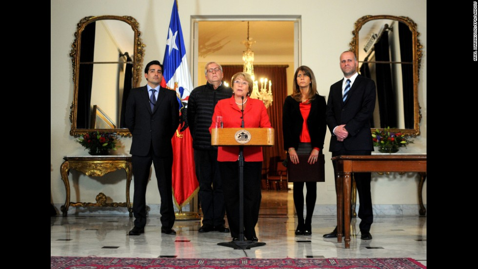 Chilean President Michelle Bachelet speaks in Santiago on April 2.