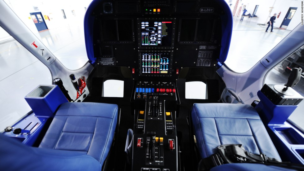 Unlike its predecessor, the cockpit of the new Goodyear blimp offers an updated instrument panel and fly-by-wire steering system controlled by a joystick.