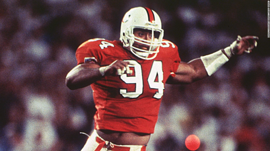 """Johnson played defensive tackle for the University of Miami Hurricanes in the early 1990s. """"He was a specimen,"""" teammate and future Hall of Famer Warren Sapp said. """"He was the kind of guy you want your sister to date, because he was a nice guy."""""""