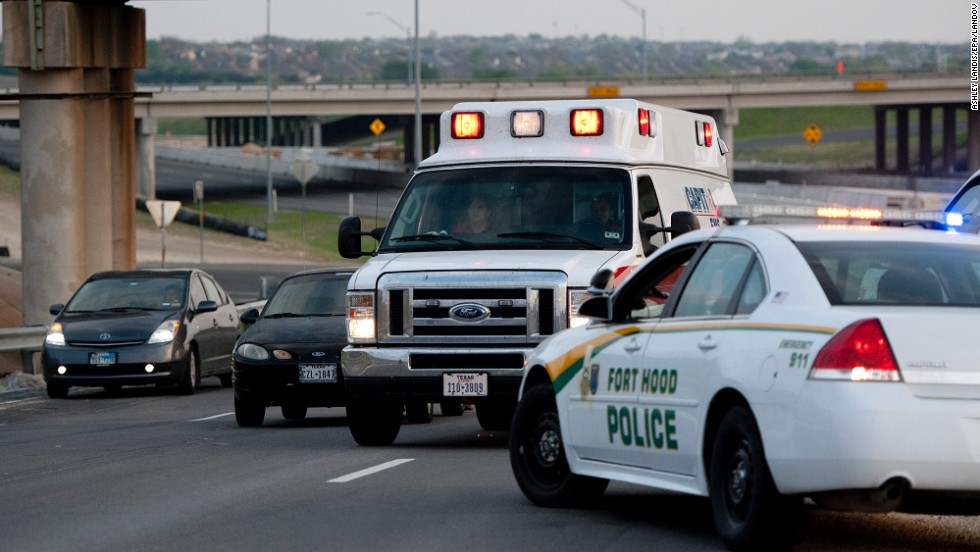 An ambulance makes its way to Fort Hood.