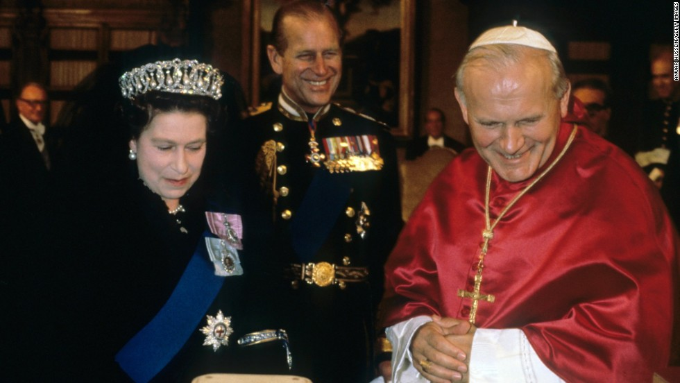 The Queen and Prince Philip meet Pope John Paul ll for the first time in October 1980.