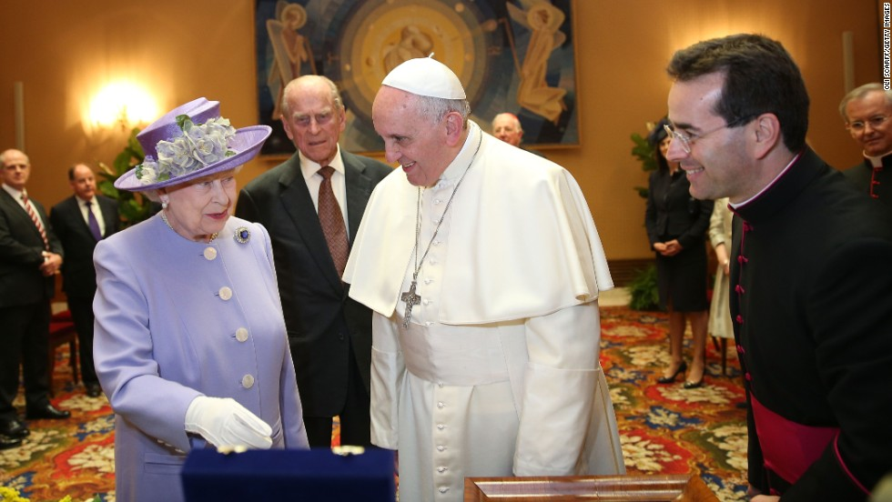 Britain's Queen Elizabeth II meets with Pope Francis at the Vatican on Thursday, April 3. Over the years, she has also met many of his papal predecessors.