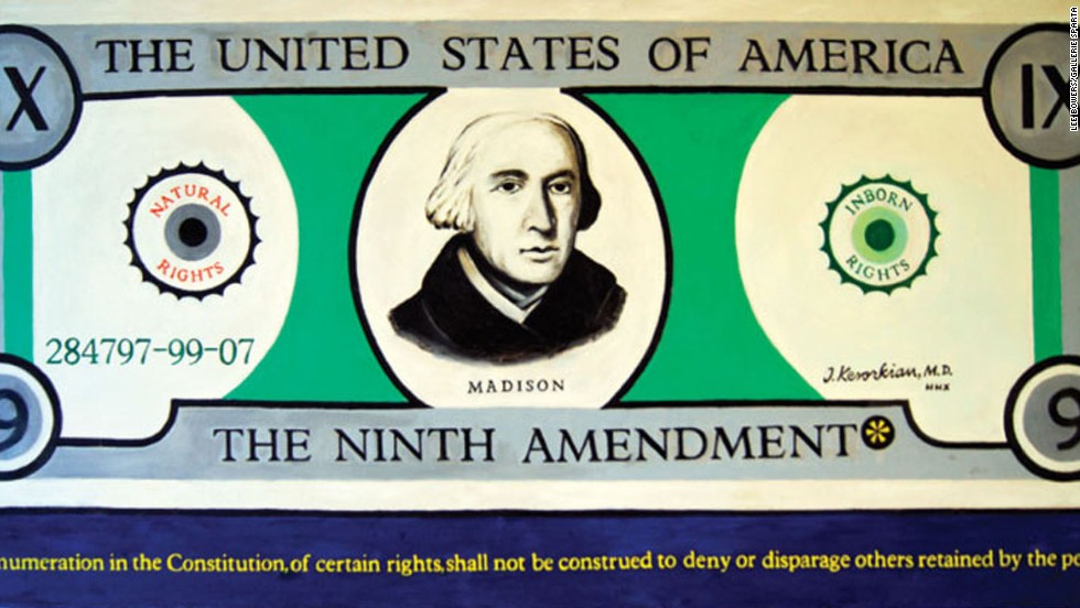 """The Ninth Amendment"" was Kevorkian's homage to the portion of the Bill of Rights that basically allows for other rights not listed in the U.S. Constitution. Kevorkian believed that this amendment ""gave Americans the right to determine the exact timing of their own death - if they so chose."" This was Kevorkian's final painting."