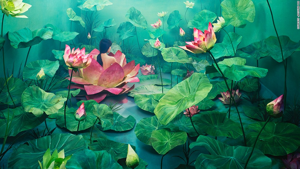 """<em>Resurrection </em><br /><br />The lotus flower blooms with the rise of sun and closes with its setting, and represents birth and resurrection in various cultures. It is also thought to have a purifying effect, an association which Lee applied to her life: """"I wanted to show my personal experience of being born again by overcoming negative elements that had dragged me down, and cleansing myself emotionally,"""" she explains."""