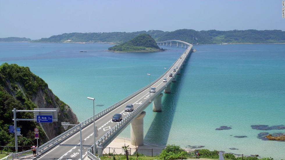 Japan's 1,780-meter-long Tsunoshima Bridge connects the island of Tsunoshima (part of Shimonoseki city) with  Honshu.