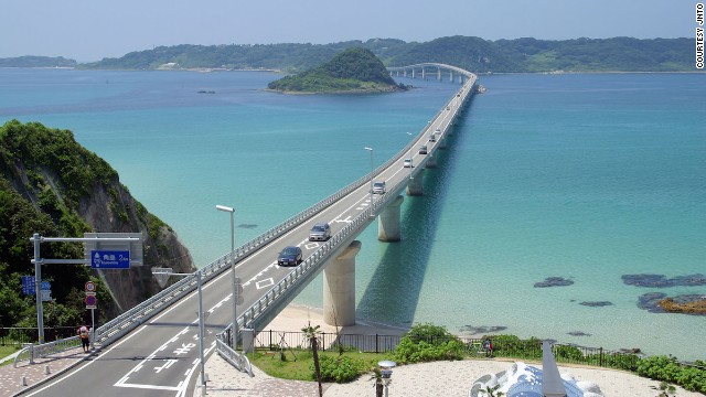 Shimonoseki's 1,780-meter-long Tsunoshima Bridge connects the island of Tsunoshima with Honshu.