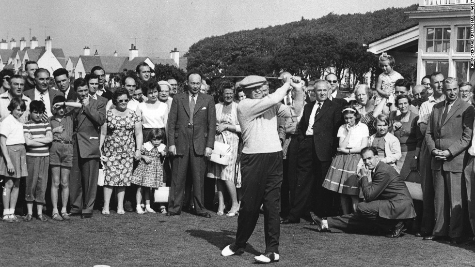 "U.S. President Dwight D. Eisenhower drives down the fairway at Turnberry in Scotland in 1959. Eisenhower, a friend of Palmer's, was a golfing fanatic who <a href=""http://www.whitehousemuseum.org/west-wing/oval-office-history.htm"" target=""_blank"">destroyed the floor of the White House's Oval Office</a> with his golf spikes."