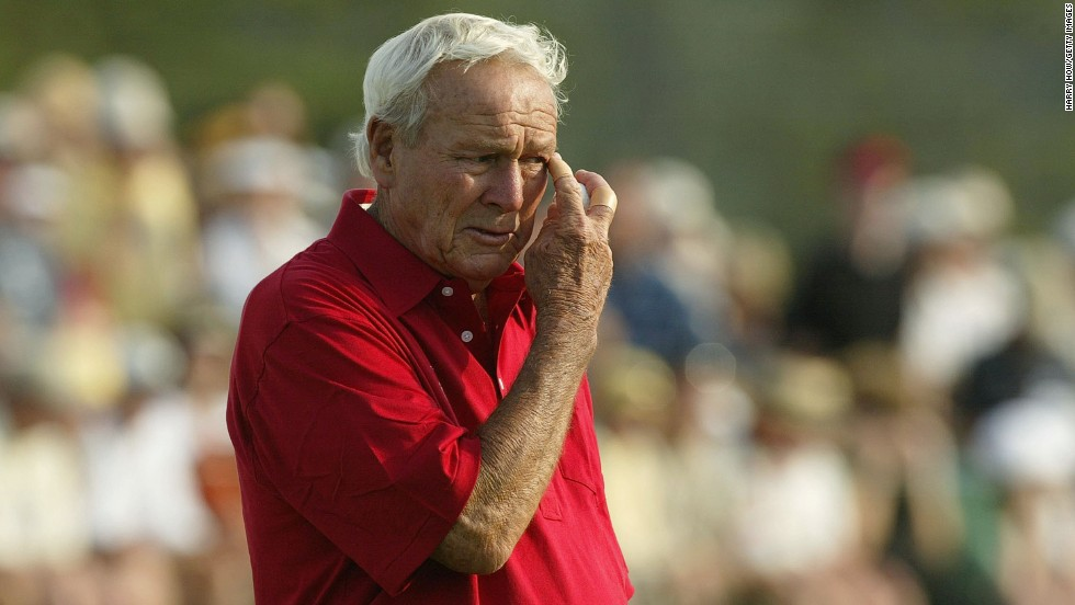 Augusta, 2004. As Palmer waits to putt out at the 18th green, for the 50th consecutive year, one of golf's all-time greats is overcome by emotion as his professional Masters career nears its end.