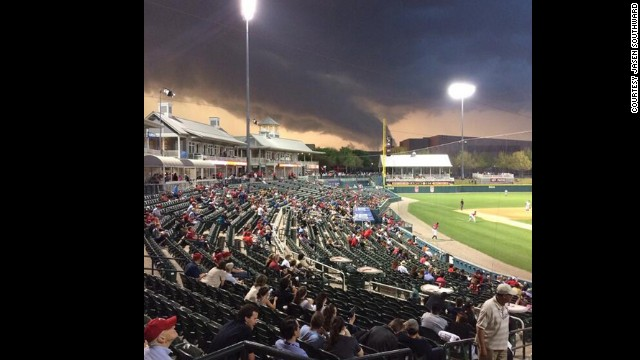 Storms rolling through Frisco, Texas, north of Dallas, at Dr. Pepper Ballpark for the Double-A baseball home opener for the Frisco Rough Riders against the Northwest Arkansas Naturals.  The game was postponed in the third inning and will be made up with a double-header on Friday.