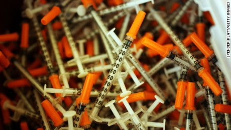 Used syringes are discarded at a needle exchange clinic where users can pick up new syringes and other clean items for those dependent on heroin on February 6, 2014 in St. Johnsbury, Vermont.