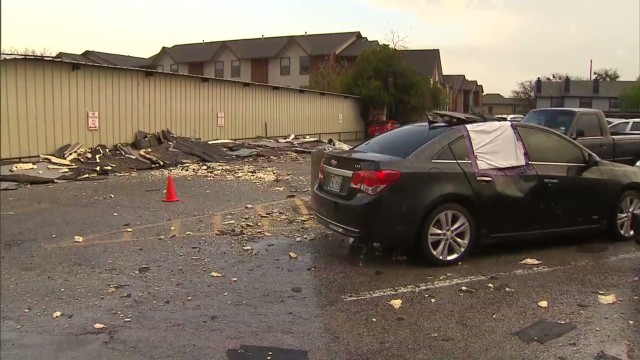 Storm damages cars and campuses in Texas