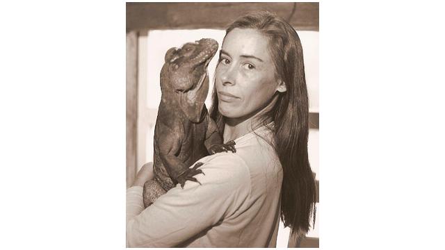 Wendy Townsend and her rhinocerous iguana Sebastian.