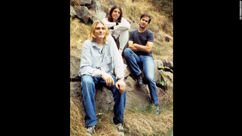 From left, Cobain, Grohl and Novoselic pose in 1992.