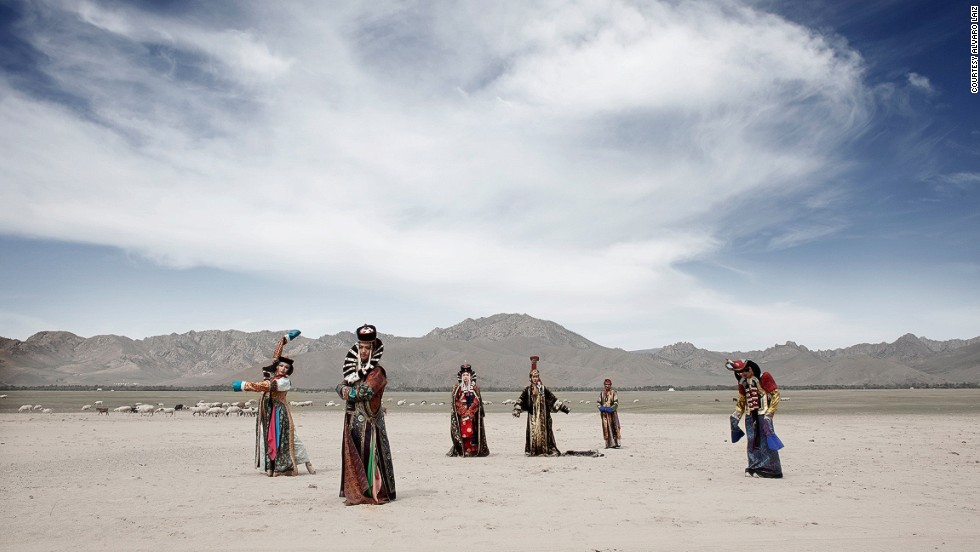 """After one of his subjects showed Laiz an old Mongolian queen dress, he decided to photograph the group clad in traditional garments outside Ulaanbaatar. """"I wanted to take the viewer to a place far away from prejudices on transgender, so they can understand that these people are nothing but human beings who are trying to live their lives. There is nothing wrong about it,"""" he explains."""