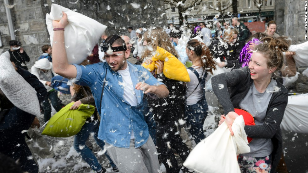 Swiss revelers take part in Lausanne, Switzerland.