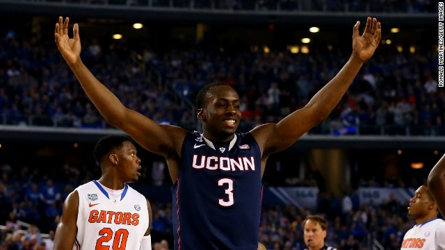 Terrence Samuel celebrates after the Connecticut Huskies' semifinal win over the Florida Gators Saturday, April 5.
