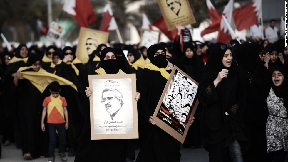 The first Bahrain race was held in 2004, but the 2011 event was canceled due to a civil uprising. Here women take part in a protest against the F1 Grand Prix in the village of Shakhurah, west of Manama, on April 4, 2014.