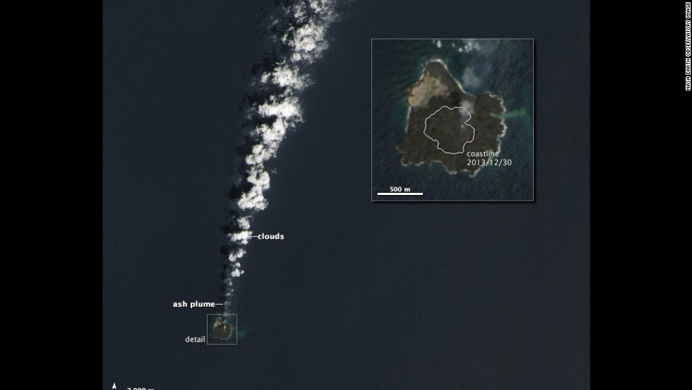 On March 30, 2014, the Operational Land Imager on the Landsat 8 satellite captured this image of the combined island. The merged island is now slightly more than six-tenths of a mile across. The growing islet, originally called Niijima, is now considered part of its larger neighbor, Nishinoshima.