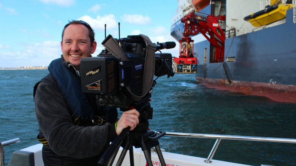 A CNN crew boarded a support vessel in the North Sea for a demonstration of remotely operated vehicles. Producer James Frater, pictured, describes the thrill of dragging heavy gear around a huge vessel in heavy seas.