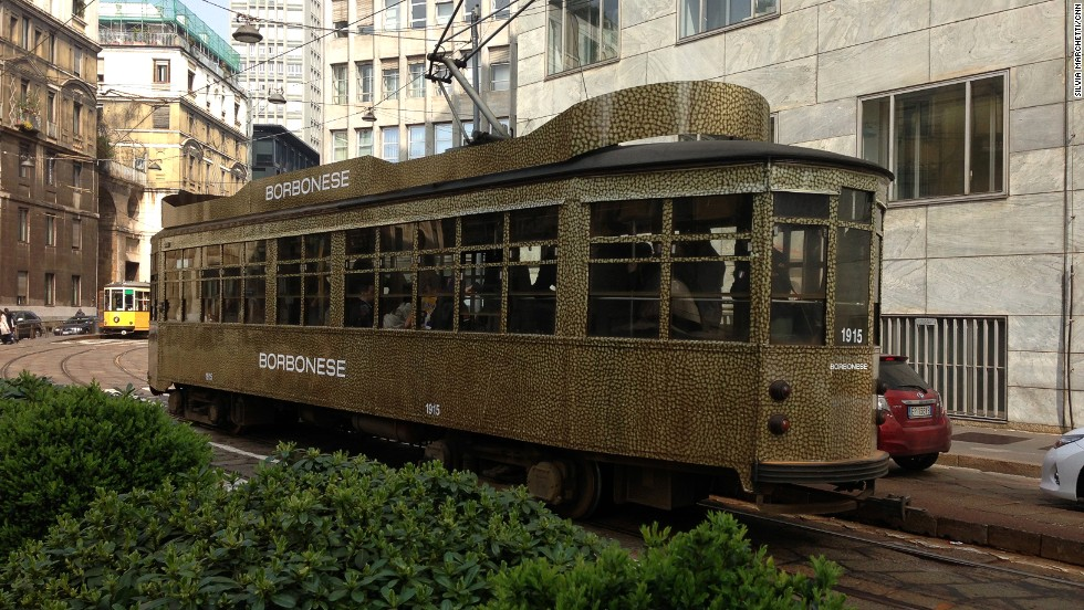 The city never misses a chance to show off Italian brands. This tram carries the Borbonese name, a bag company started in Turin.