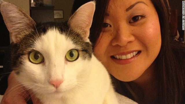 Kit Skogsbergh with her cat, Ninja