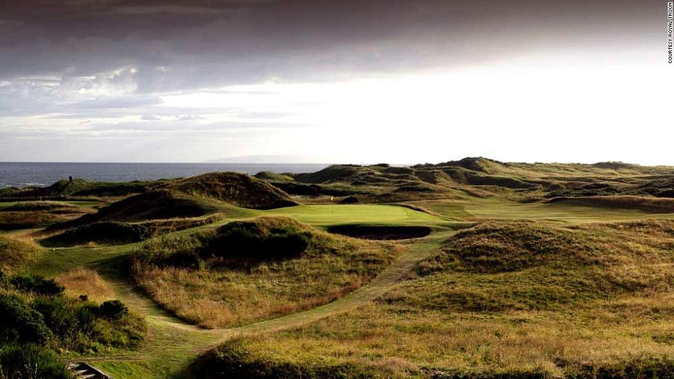 "Troon's most famous hole is the short par-three eighth, known as ""'the Postage Stamp,"" which measures just 123 yards from the back tees. It gets its name from the smallness of the green, which is surrounded by deep bunkers. Many top golfers have come to grief at this course, home to the shortest hole at any Open Championship venue."