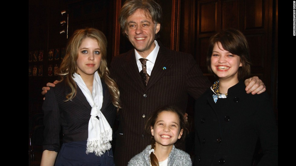 The Geldof family, from left, Peaches, Bob, Tiger Lily and Pixie, in Dublin in 2006. Bob became Tiger Lily's legal guardian after the death of his ex-wife, Paula Yates. Bob also has another daughter, Fifi Trixibelle, not pictured.