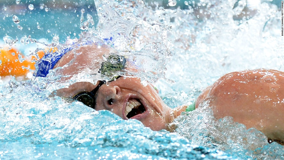 Keryn McMaster swims in the women's 400-meter medley Tuesday, April 1, at the Australian Swimming Championships in Brisbane, Australia.