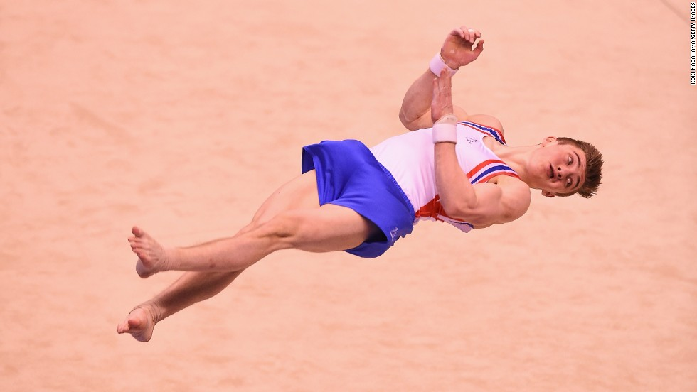 British gymnast Sam Oldham competes in the floor exercise during the Tokyo World Cup on Saturday, April 5.