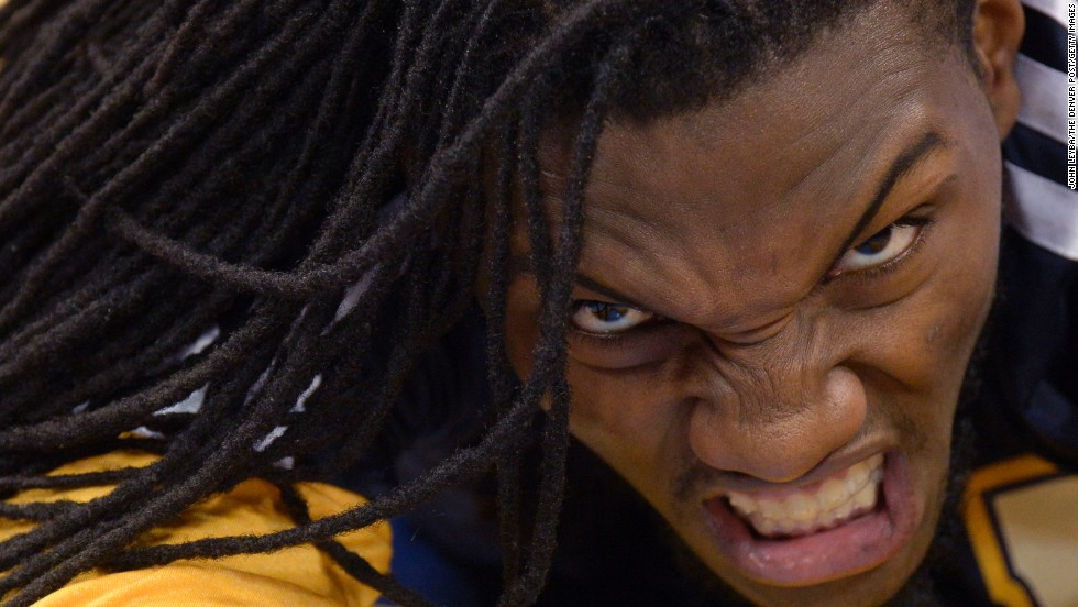 Kenneth Faried of the NBA's Denver Nuggets hams it up for the camera as he stretches prior to a game against the New Orleans Pelicans on Wednesday, April 2.