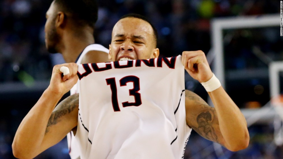 Connecticut guard Shabazz Napier celebrates on the court.