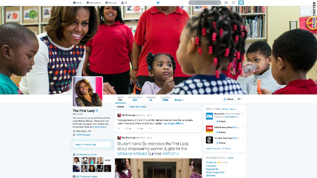 First Lady Michelle Obama was among the first Twitter users to get the new profile page.