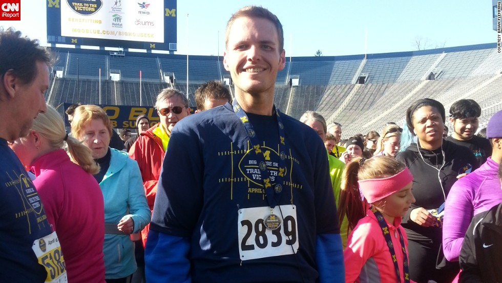 Flemming ran his third 5K race on his 32nd birthday a few weeks ago. He's down to 234 pounds -- a loss of nearly 400 pounds in 18 months.